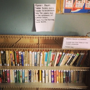 Used books at Grants Pass Greyhound Station - June 16, 2013